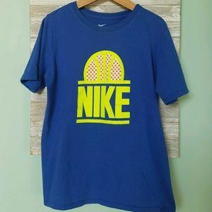 NIKE Boy's Blue & Yellow Athletic Cut Tee (L 14)